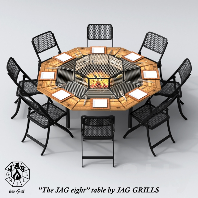 3d models table chair jag 8 by jag grills. Black Bedroom Furniture Sets. Home Design Ideas