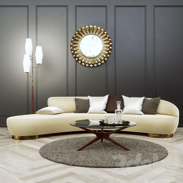 3d Models Sofa Vladimir Kagan Free Form Curved Sofa