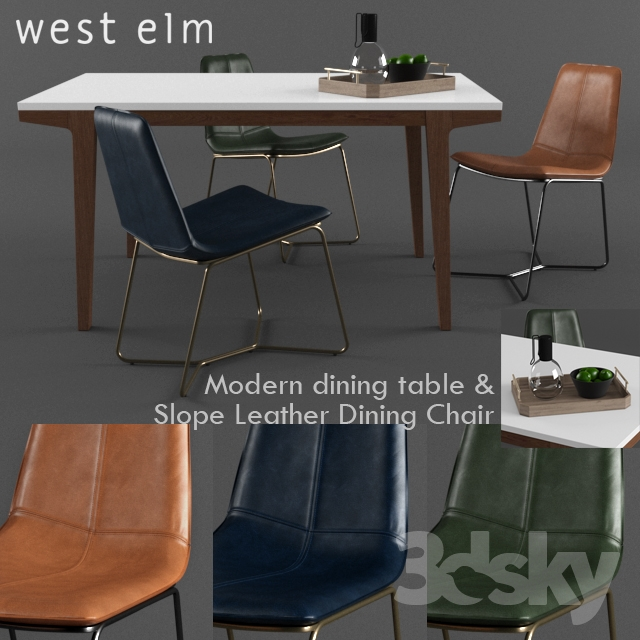 3d Models Table Chair West Elm Slope Leather Dining