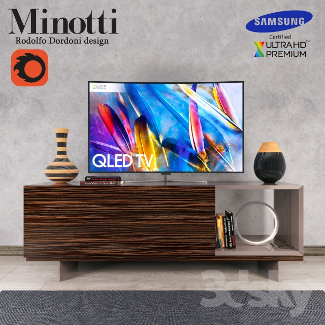 Lang Minotti tv console and Samsung QLEDTV