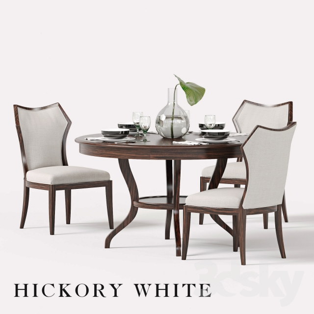 Hickory White Halsey Side Chair and Round Dining Table