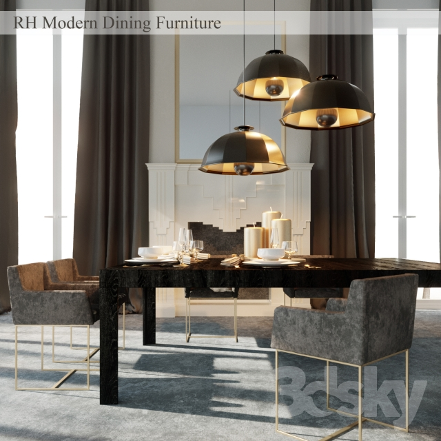 3d Models Table Chair Rh Modern Dining Furniture