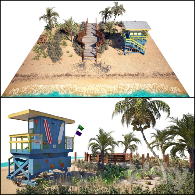 3d models other architectural elements ocean beach set for Model beach huts