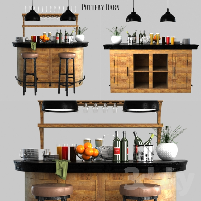 3d Models Sideboard Chest Of Drawer Pottery Barn Lawrence Demilune Bar Cabinet