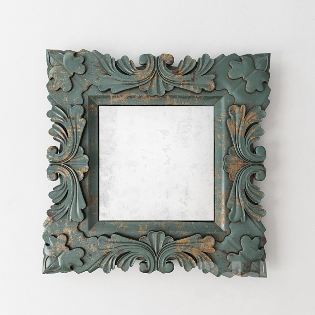 3d models mirror square baroque mirror design by burke