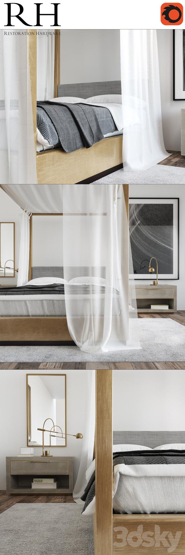 3d models other restoration hardware modern bedroom. Black Bedroom Furniture Sets. Home Design Ideas