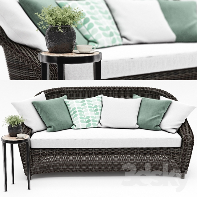 TORREY ALL-WEATHER WICKER ROLL-ARM SOFA from Pottery barn