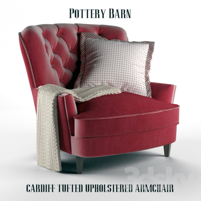 3d Models Arm Chair Pottery Barn Cardiff Tufted Upholstered Armchair