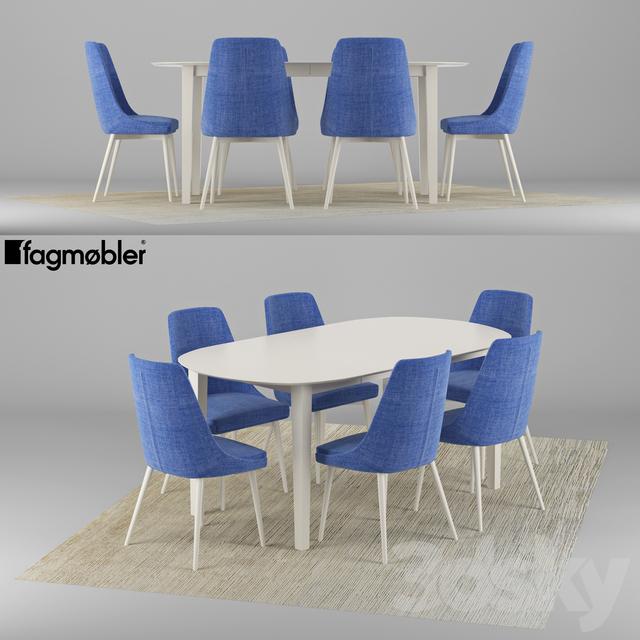 3d models: Table + Chair - Eka Hvitmalt spisebord Fagmøbler