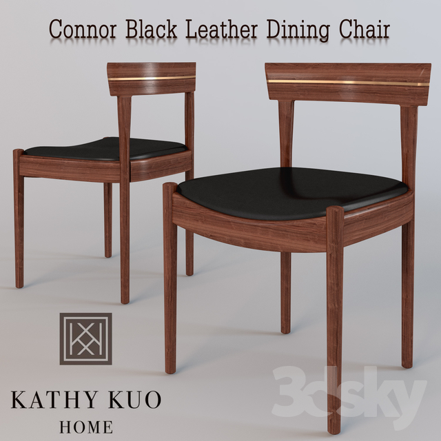 Connor Black Leather Dining Chair