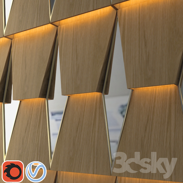 3d Models 3d Panel 3d Wooden Wall Panel With Mirror