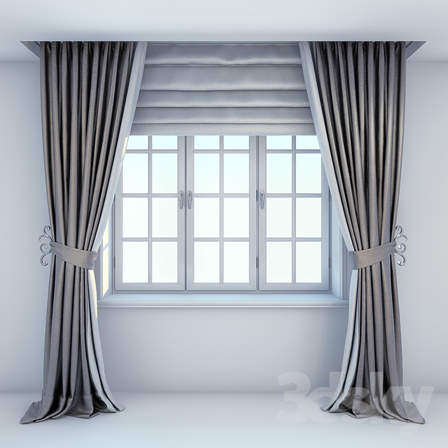3d Models Curtain Window Curtains And Roman Blinds