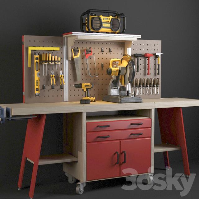 Marvelous 3D Models Miscellaneous Workbench With Tools Dewalt Evergreenethics Interior Chair Design Evergreenethicsorg