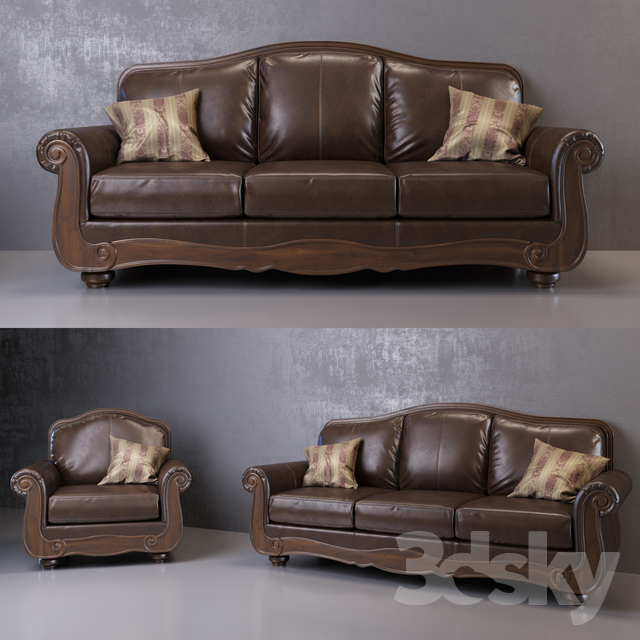 Gentil 3d Models: Sofa   Barcelona Antique Sofa And Armchair