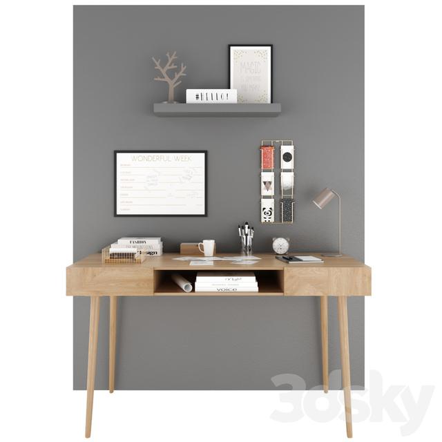3d models table maisons du monde set 9. Black Bedroom Furniture Sets. Home Design Ideas