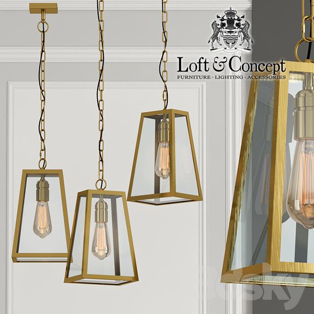 Chandelier Loft Industrial Ortogonal pendant Brass