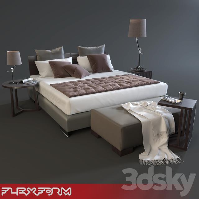 3d models: Bed - Flexform Long Island Bed Set