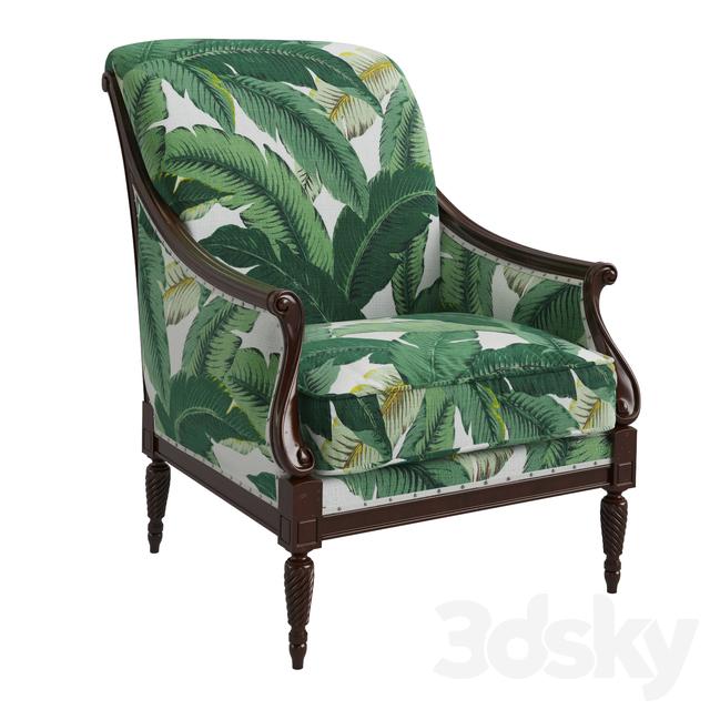 3d Models Arm Chair Harwood Accent Chair Palm Leaf