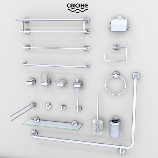 3d models bathroom accessories grohe bath accessories for Bathroom accessories grohe