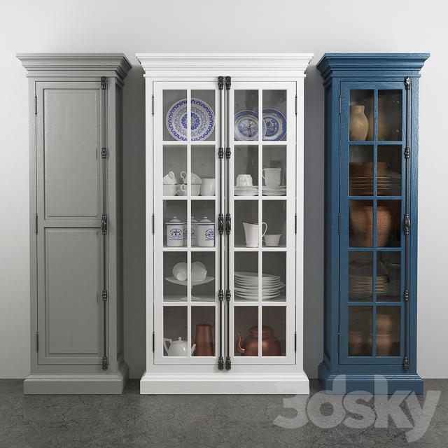 3d models: wardrobe & display cabinets - french casement 2-door cabinet