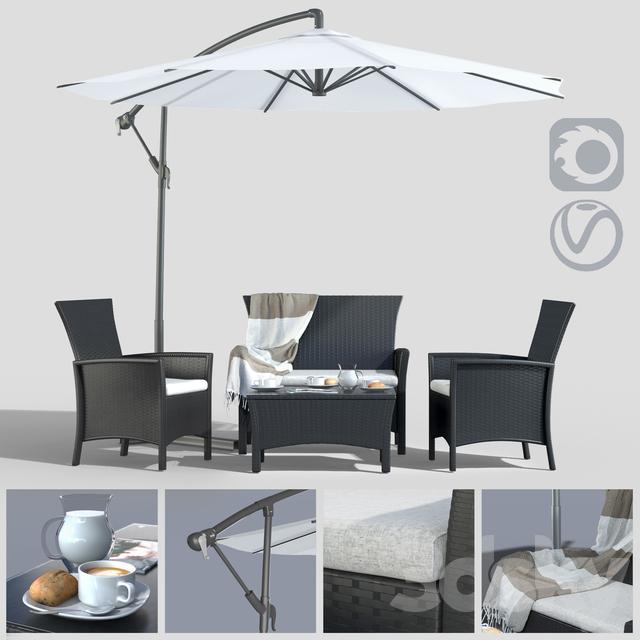 Furniture made of polyotonga with an umbrella