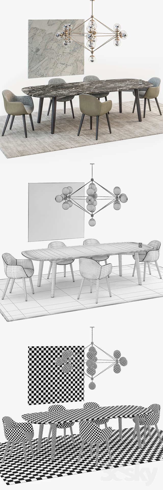 3d Models Table Chair Poliform Mad Dining Set 01