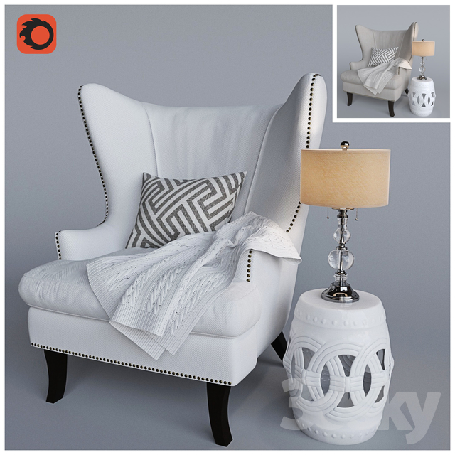 Corona armchair and knitted plaid