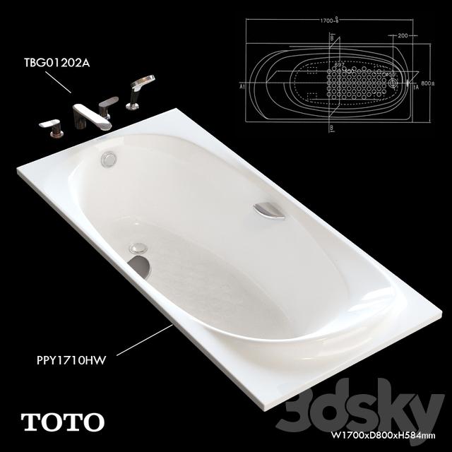 Toto Bathtub PPY1710HW Faucet TBG01202A