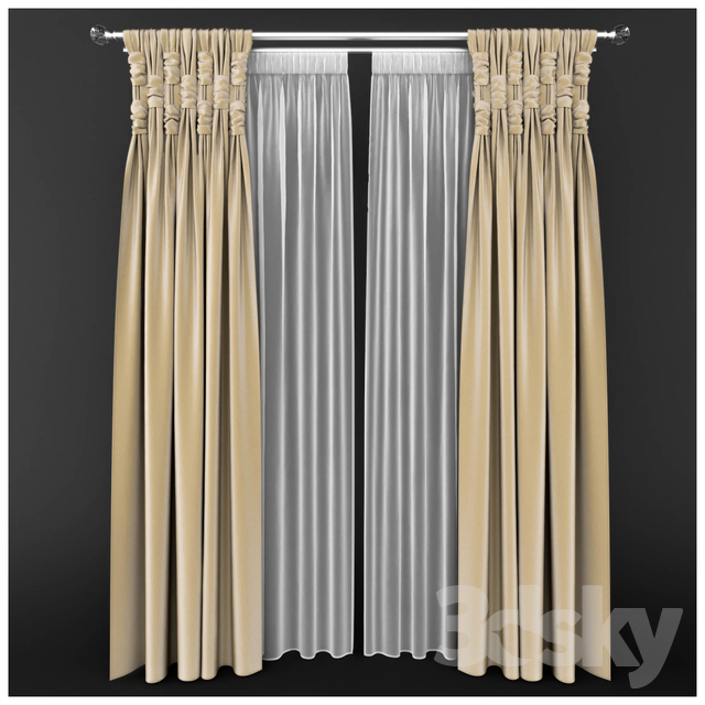 Set of two curtains with decorative binding