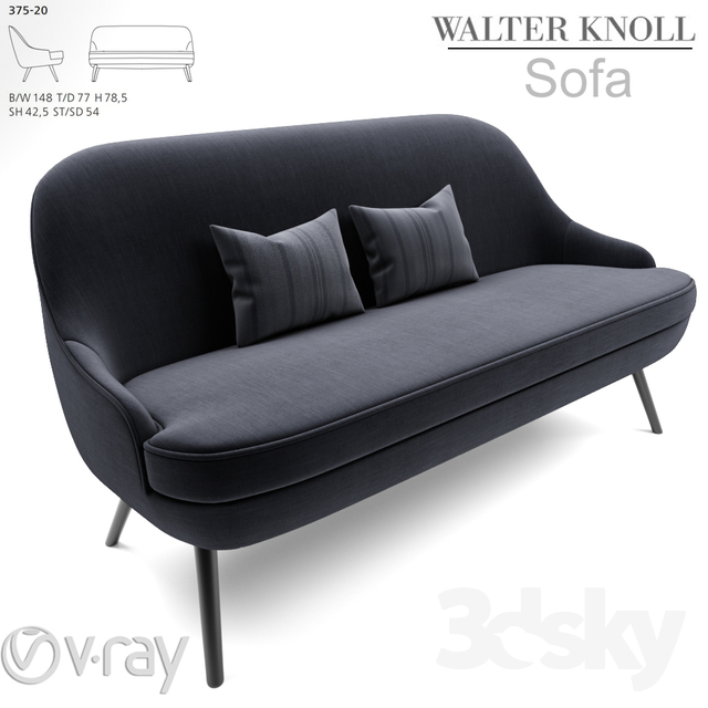 3d models sofa 375 walter knoll sofa. Black Bedroom Furniture Sets. Home Design Ideas