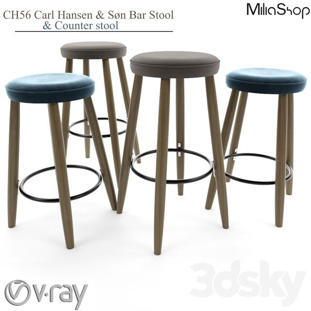3d Models Chair Ch56 Carl Hansen Amp S 248 N Bar Stool