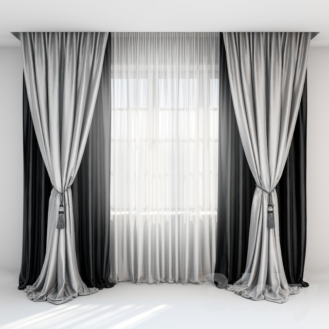 Black Satin Curtains With Pick Up Brush Gray In The Floor And Tulle