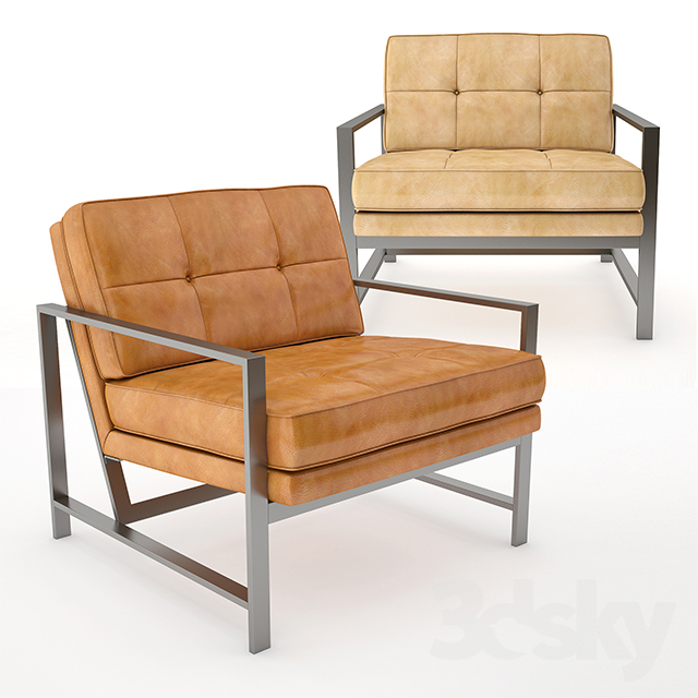 Metal Frame Tufted Leather Chair