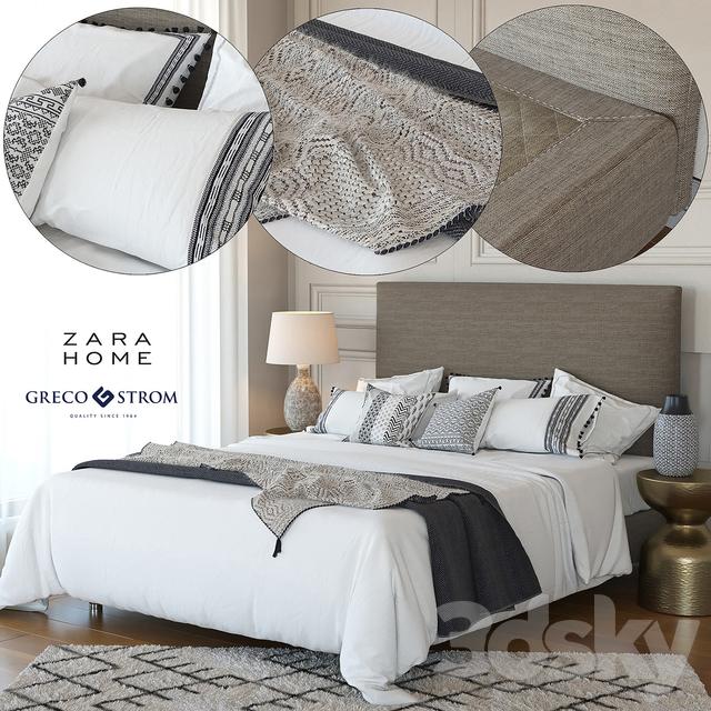 3d models bed zara home linen collection bedding greco strom bed 7. Black Bedroom Furniture Sets. Home Design Ideas