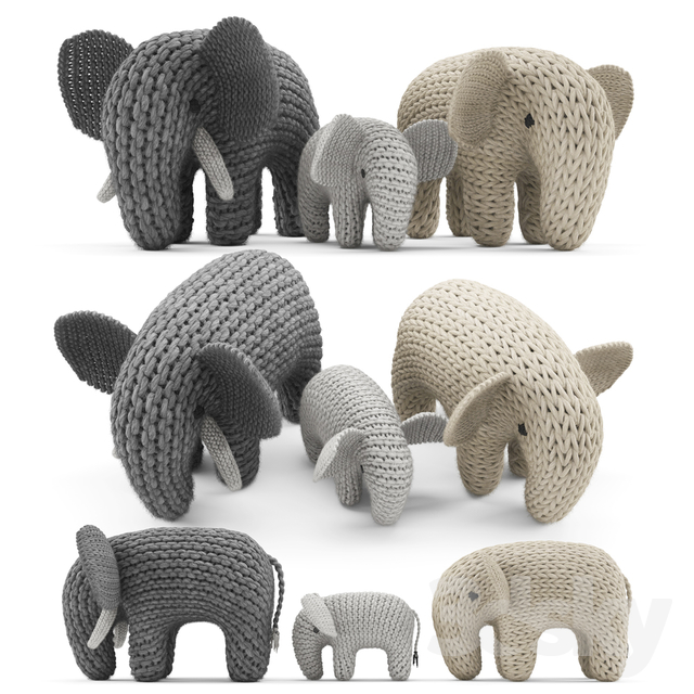 Knitted Elephants Toys