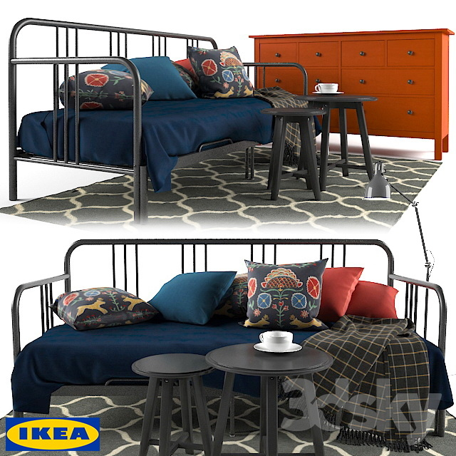 3d models Other FYRESDAL IKEA Daybed& HEMNES IKEA 8 drawer dresser