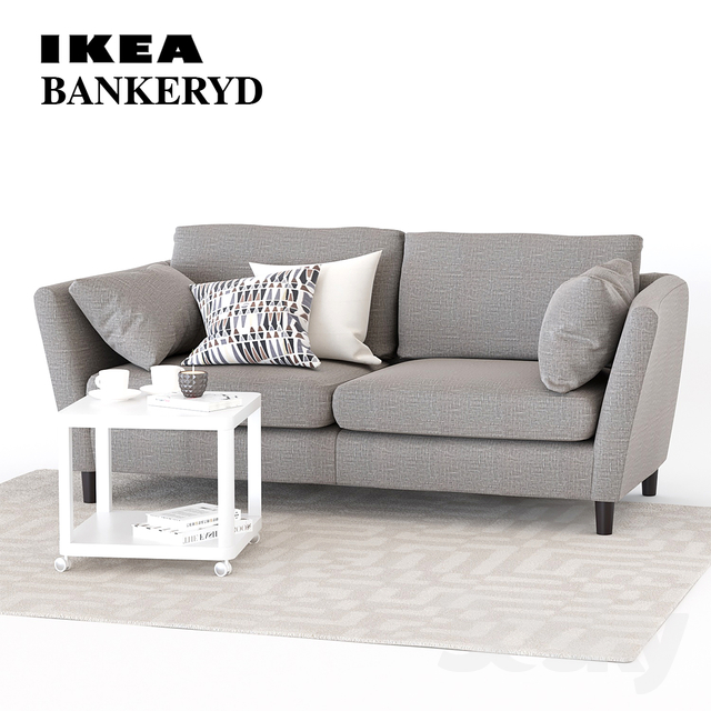 Amazing 3D Models Sofa 3 Seater Sofa Ikea Bankeryd Download Free Architecture Designs Rallybritishbridgeorg