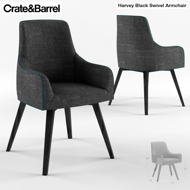 3d Models: Chair   Crate And Barrel Harvey Swivel Armchair