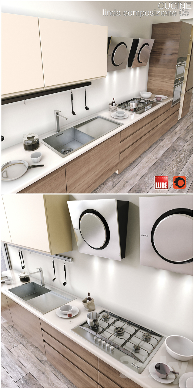 3d models: Kitchen - Kitchen CUCINE LUBE linda