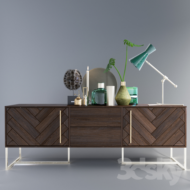 3d models sideboard chest of drawer decorative set for Sideboard 3 00 m
