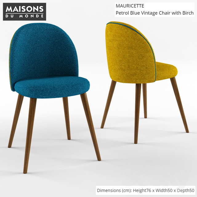 3d models chair maison du monde mauricette chair. Black Bedroom Furniture Sets. Home Design Ideas