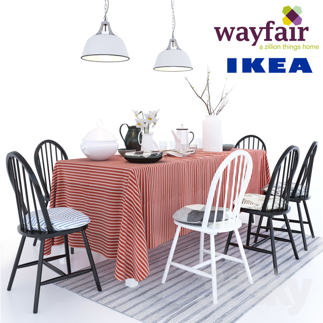 6 chairs Geraldine Westminster with pillows Ikea table Ingo