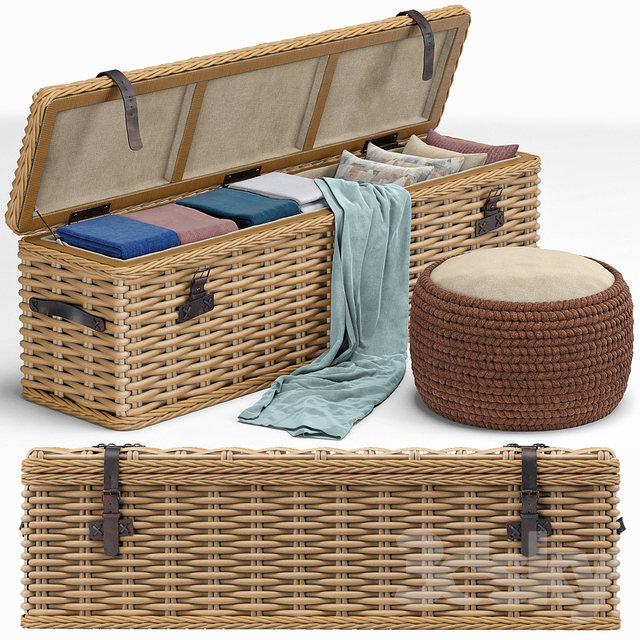 Brenna Leather Accent Woven Rattan Trunk, pouf