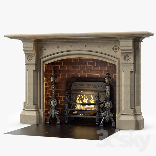 Westland London A Large Yorkstone Gothic Style Antique Fireplace Stock No 14223