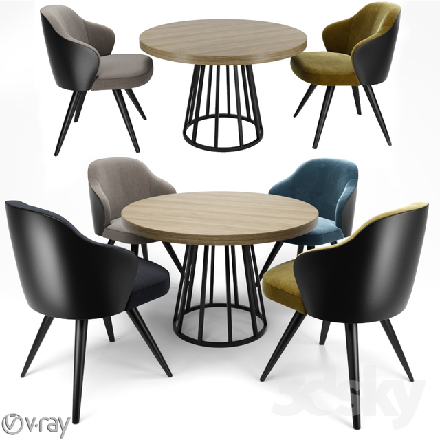Minotti Leslie Dining Steel Swivel With Round Table