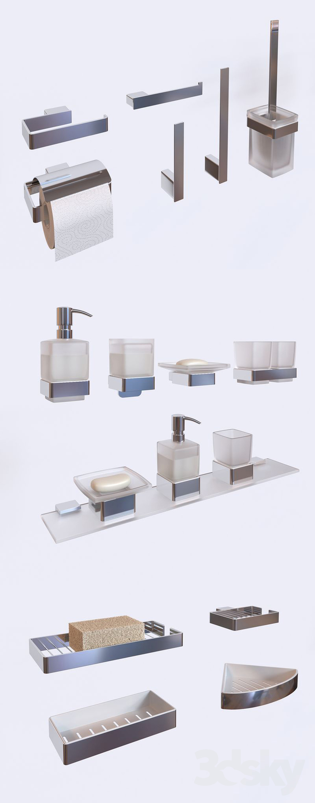 3d models: Bathroom accessories - EMCO Accessories Set // Loft