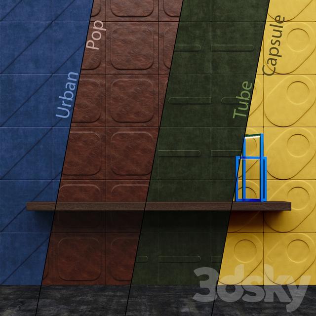 3d models: 3D panel - CUIR AU CARRE Wall Panels Part 1