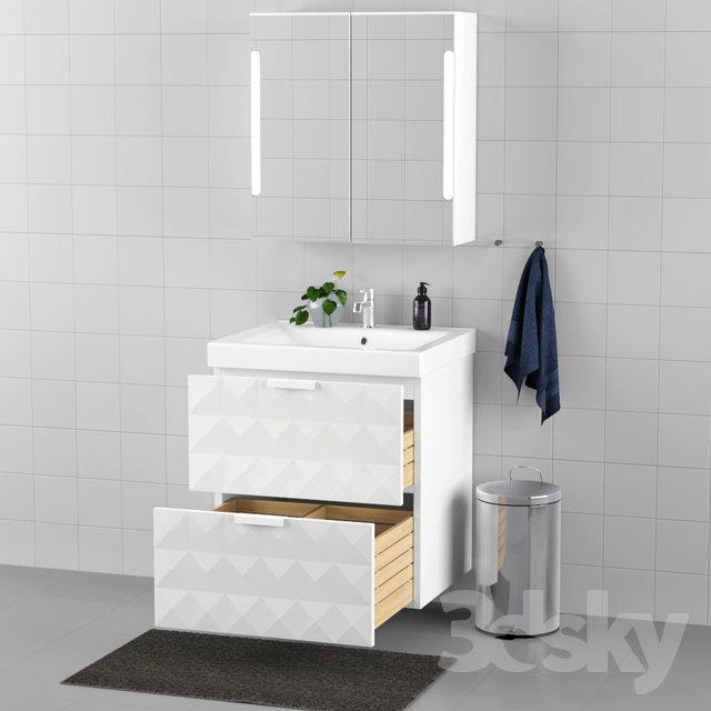3d models bathroom furniture set of bathroom furniture ikea godmorgon odensvik. Black Bedroom Furniture Sets. Home Design Ideas