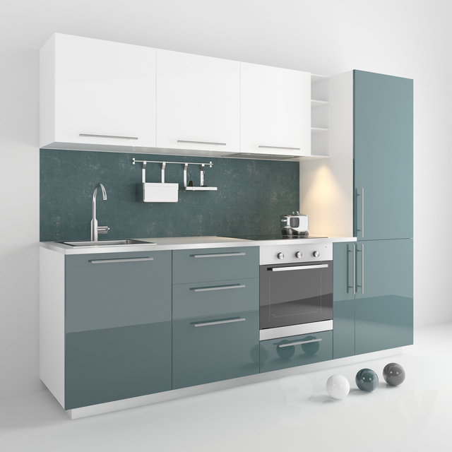 3d Models Kitchen Ikea Metod Complete Kitchen Set 3 Colors