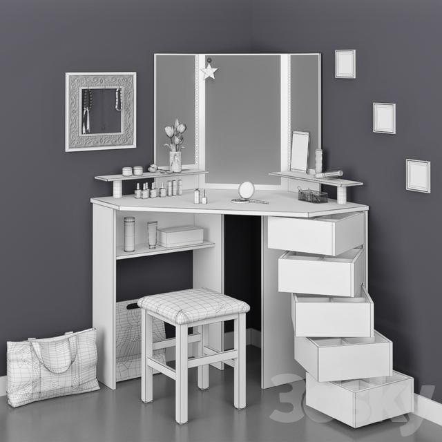 3d Models: Table + Chair   Parisot Beauty Bar Corner Dressing Table